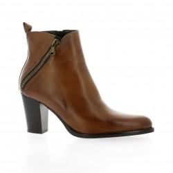 Dénouée Boots cuir cognac