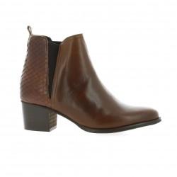 So send Boots cuir python cognac