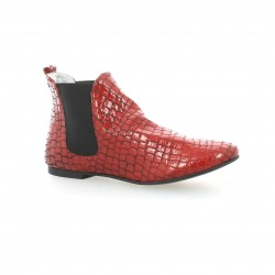 Ippon vintage Boots cuir croco rouge