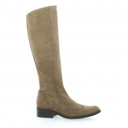 Costa Bottes cuir velours taupe