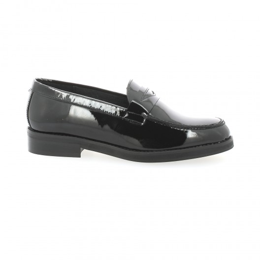 We Do Mocassins cuir vernis Noir - Chaussures Mocassins Femme