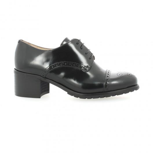 Paco Valiente Derby cuir glacé Noir - Chaussures Derbies Femme