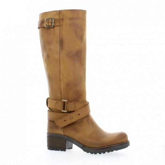 Pao Boots cuir nubuck Cognac - Chaussures Bottine Femme