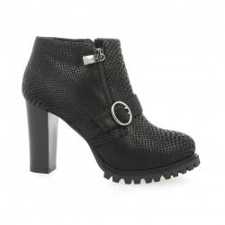 Benoite c Boots cuir serpent noir