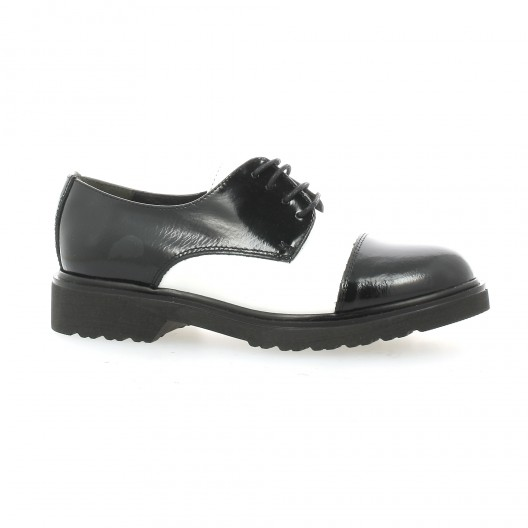 f8f3a1dc76b492 Derby Ippon Vintage cuir vernis noir blanc chaussures Christine