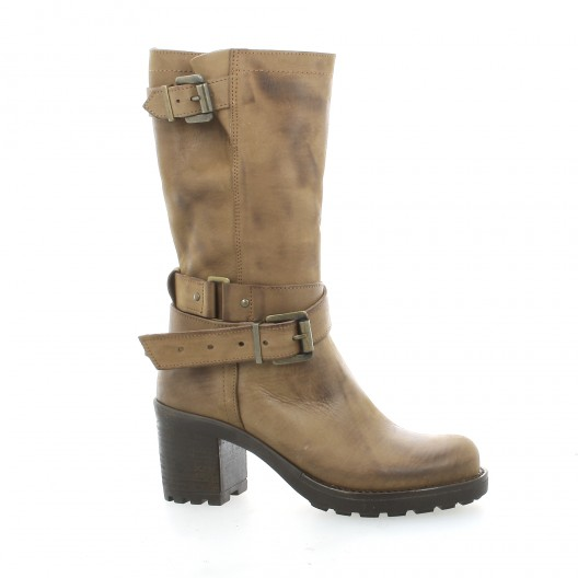 Pao Boots cuir nubuck taupe