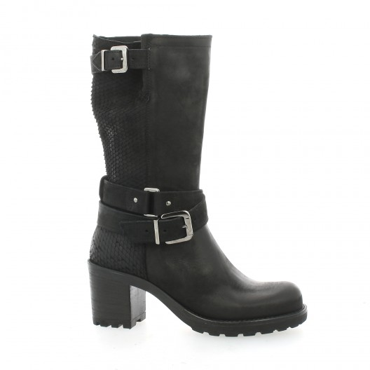 Pao Boots cuir python Noir - Chaussures Bottine Femme