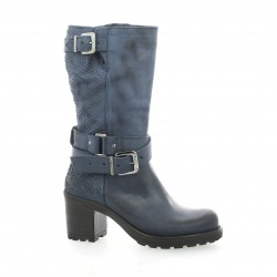 Pao Boots cuir python bleu