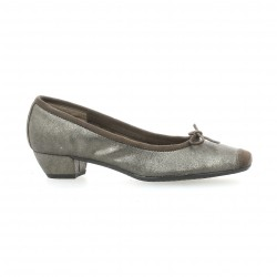 Reqins Ballerines cuir laminé taupe
