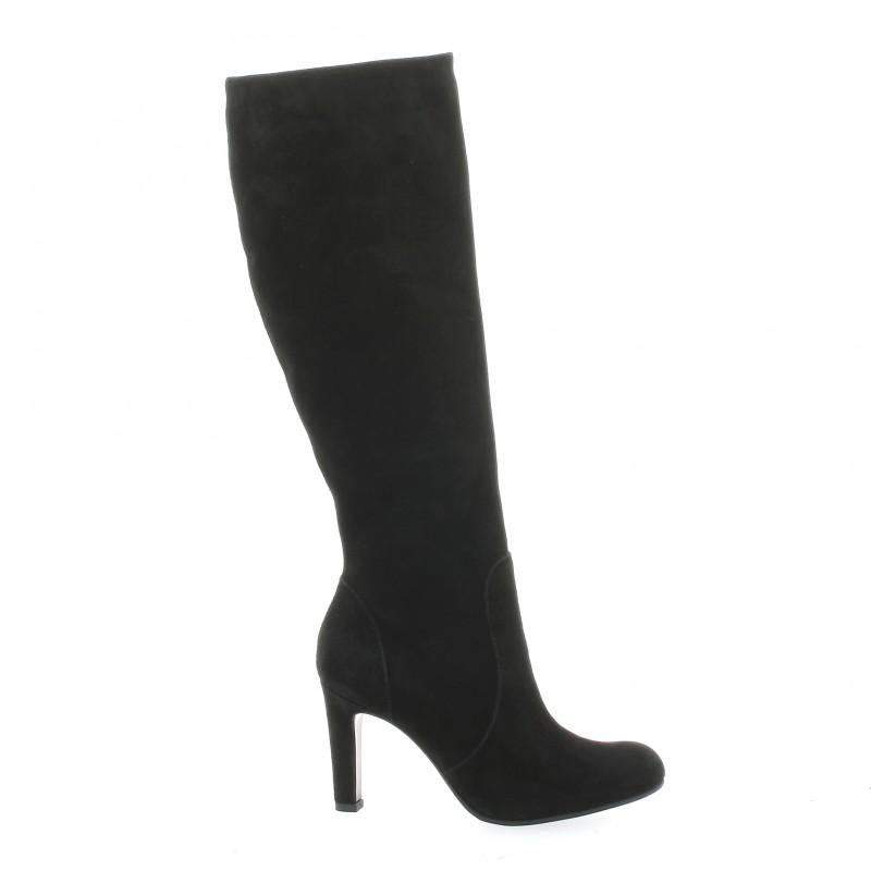bottes donna piu cuir velours noir chaussures 8991. Black Bedroom Furniture Sets. Home Design Ideas