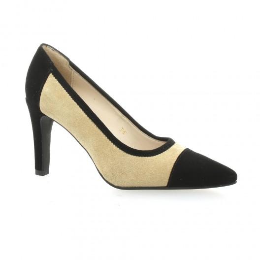 5556640bcb53f Escarpins cuir velours taupe et noir Vidi Studio chaussures Tamtam
