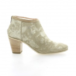 Life Low boots cuir laminé or