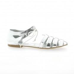 Ippon vintage Nu pieds cuir laminé argent