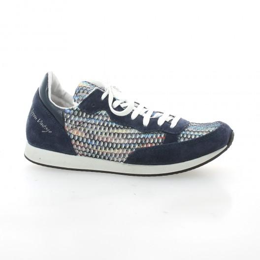 98b1df44ccff40 Ippon Vintage baskets cuir velours bleu chaussures Run Street