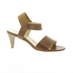 Elizabeth stuart Nu pieds cuir marron