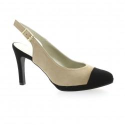 Brenda zaro Escarpins cuir velours noir/beige