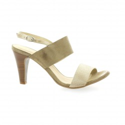 Ambiance Nu pieds cuir velours beige