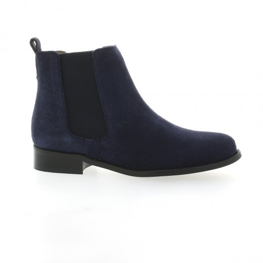 Pao Boots cuir velours marine
