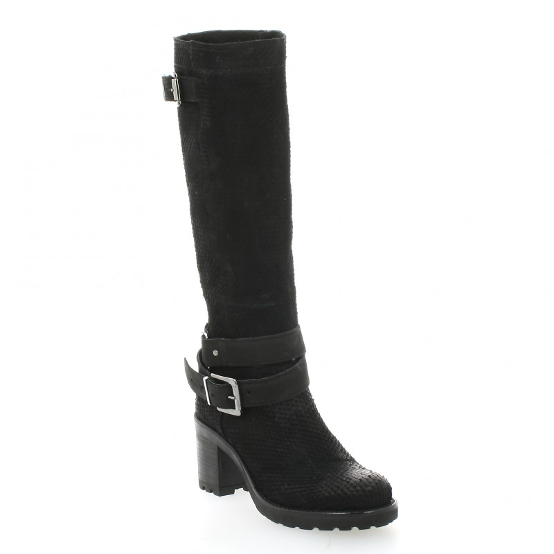 Pao Bottes Cuir Velours Gris - 38