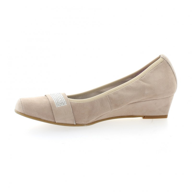 Chaussures cuir velours rose poudre pao ballerines compens es amaya - Ballerine rose poudre ...