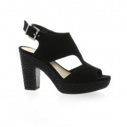 We do Nu pieds cuir velours noir