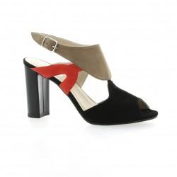 Brenda zaro Nu pieds cuir velours noir/beige