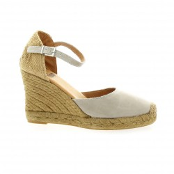 Pao Espadrille cuir gris