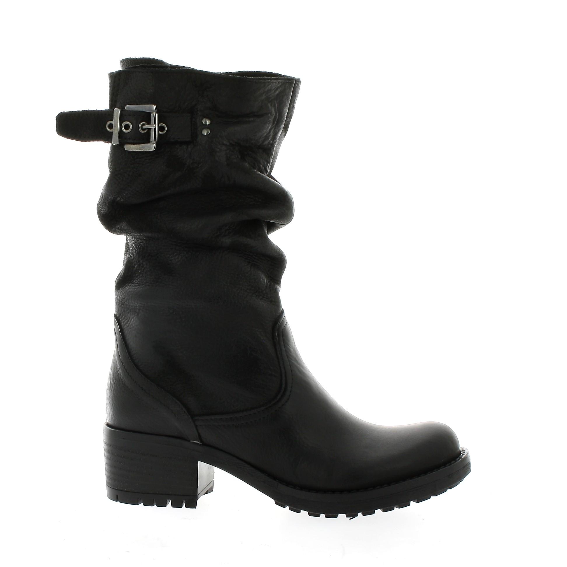 boots motardes pao chaussures biker cuir nubuck noir 205