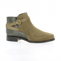 We do Boots cuir velours serpent taupe