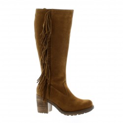 Apple of Eden Bottes cuir velours cognac