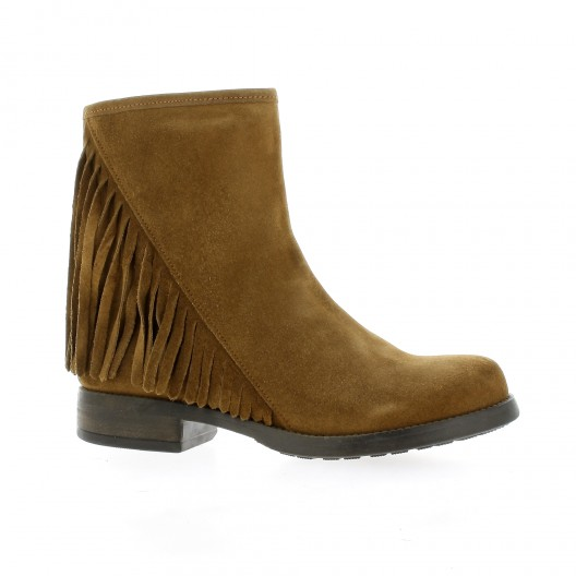 Reqins Boots cuir velours camel