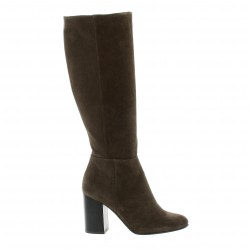 Reqins Bottes cuir velours taupe
