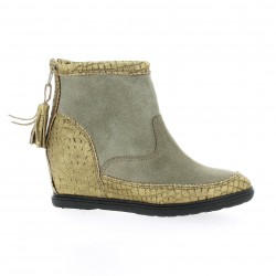 Minka design Boots cuir laminé taupe