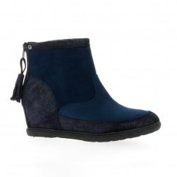 Minka design Boots cuir laminé marine