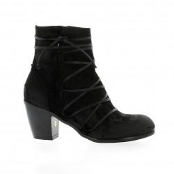 Dénouée Boots cuir velours noir