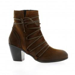 Dénouée Boots cuir velours cognac