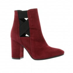 Nuova riviera Boots cuir velours bordeaux