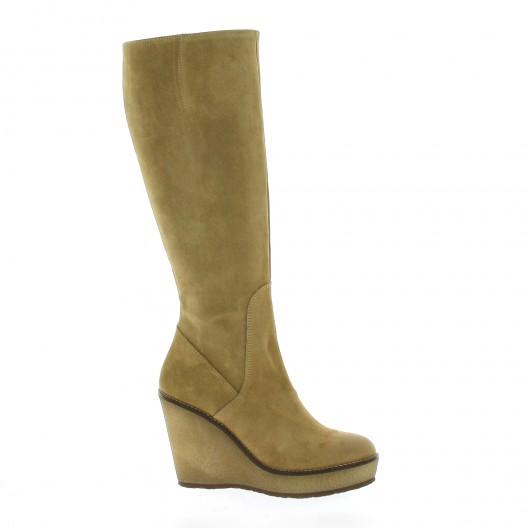 Minka design Bottes cuir velours camel