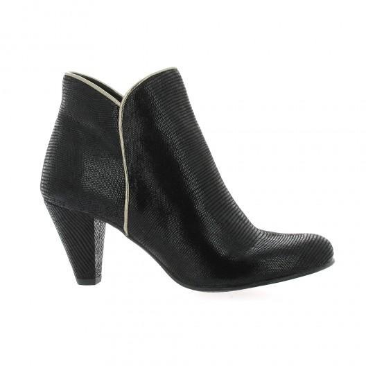 Costa Boots cuir laminé Noir - Chaussures Boot Femme