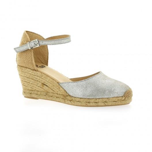 Pao Espadrille velours lamine Argent - Chaussures Espadrilles Femme