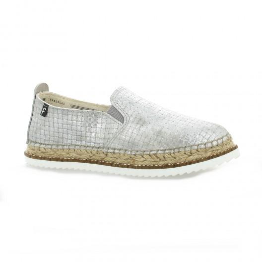 Fabiolas Espadrille cuir laminé Argent - Chaussures Espadrilles Femme