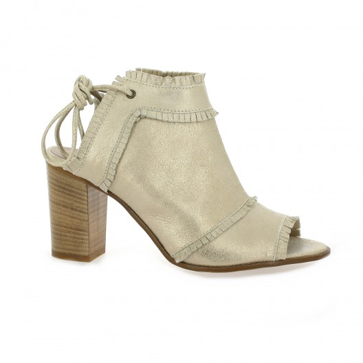 Donna Più Boots cuir laminé Bronze - Chaussures Boot Femme