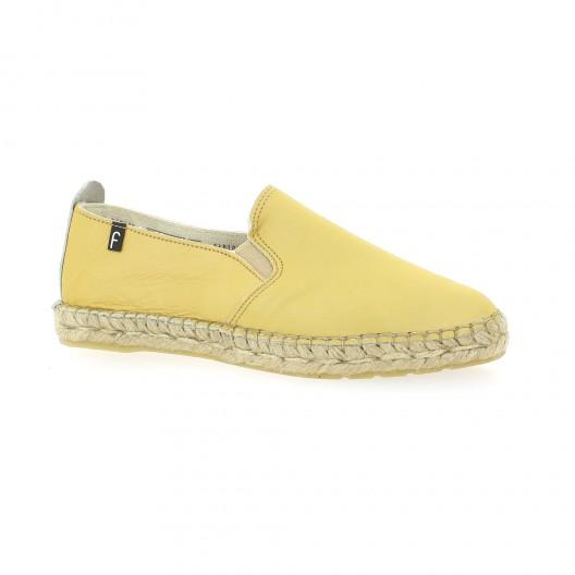 Fabiolas Espadrille cuir Jaune - Chaussures Espadrilles Femme