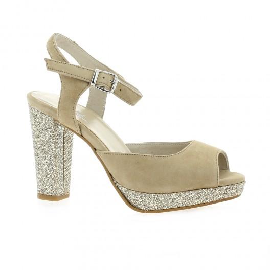 Reqins Escarpins cuir velours Camel - Chaussures Escarpins Femme