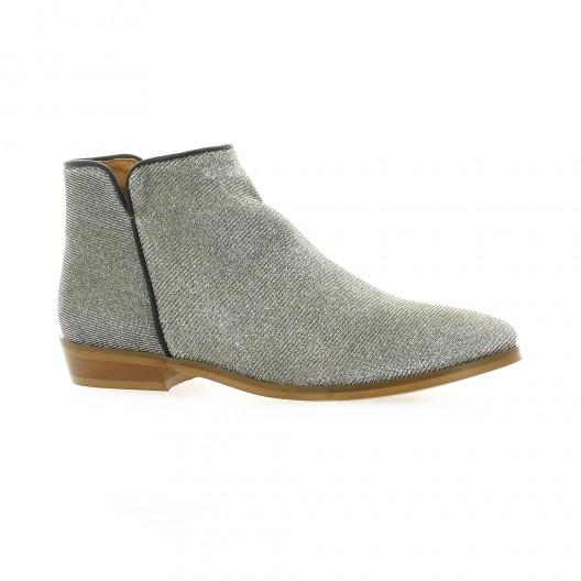 Minka design Boots cuir laminé argent