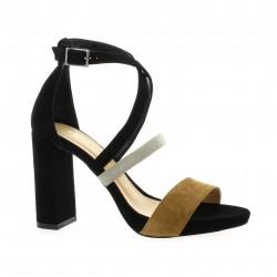 Fremilu Escarpins cuir velours noir/camel