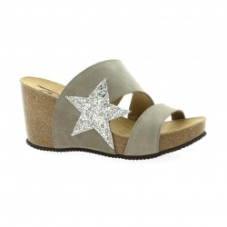Reqins Mules cuir velours taupe