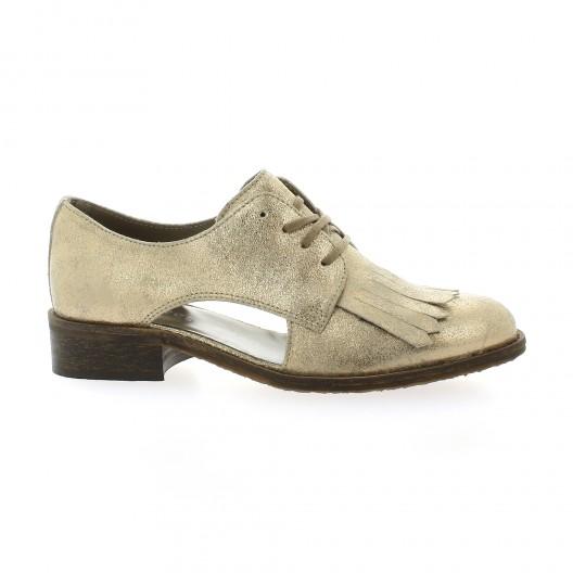 Impact Derby cuir laminé Taupe - Chaussures Derbies Femme
