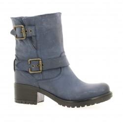 Boots cuir nubuk bleu Pao