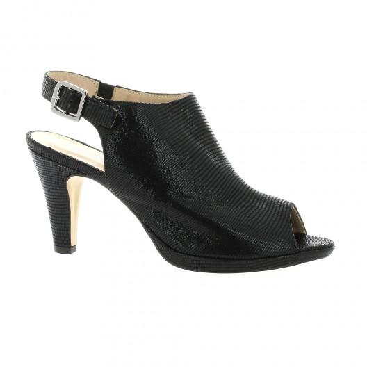 Costa Sofia  Nu pieds cuir laminé Noir - Chaussures Sandale Femme